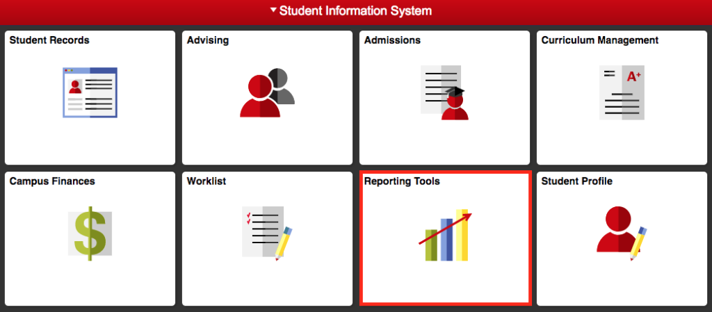 Reporting Tools tile on the Student Information Sysem is highlighted to show location